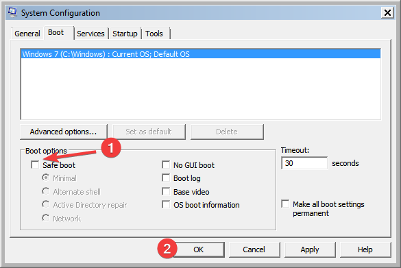 Set the normal boot in the System Configuration tool