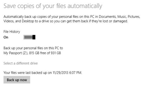 Windows 8.1, Backup Data, File History, turn on, PC Settings