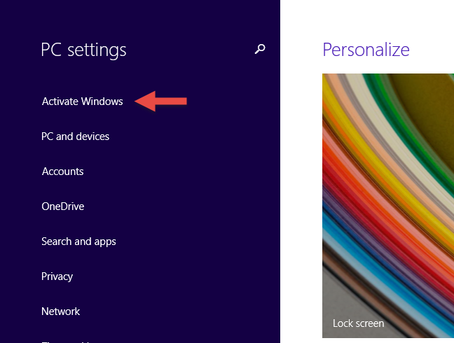 The PC Settings screen showing that Windows 8.1 need to be activated