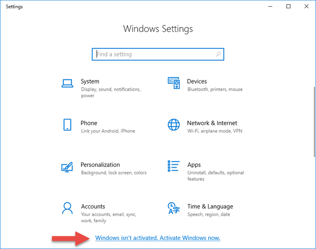 The Settings app showing that Windows 10 needs to be activated