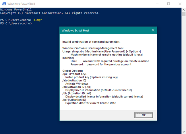 The slmgr command in PowerShell
