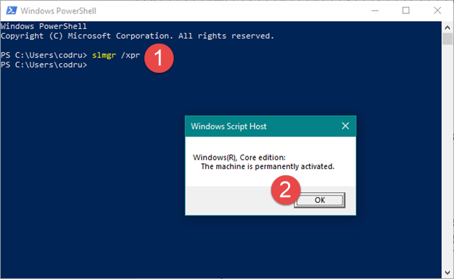The slmgr /xpr command in Windows Powershell