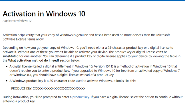 The Microsoft Activation in Windows 10 website