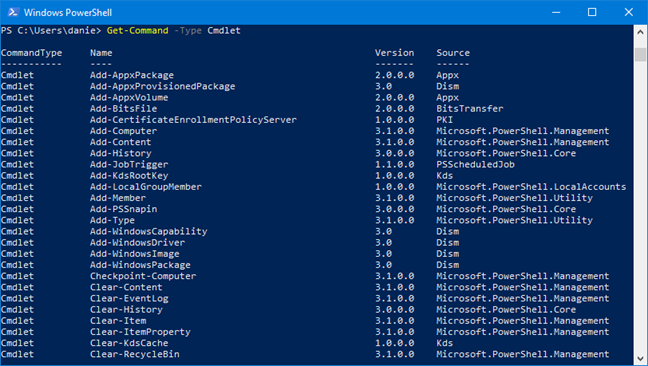 Get-Command -Type Cmdlet in PowerShell