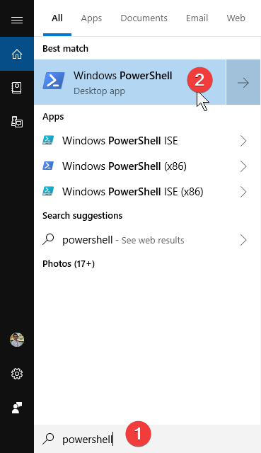 Searching for PowerShell in Windows 10