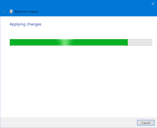 Wait while Windows applies your changes