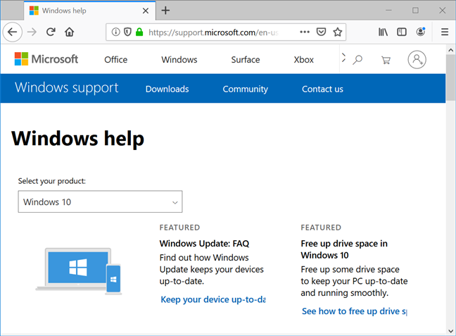 The Windows 10 help page provides generic tips and info about updates