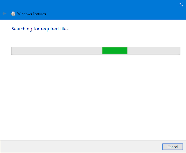Windows 10 is searching for the required files
