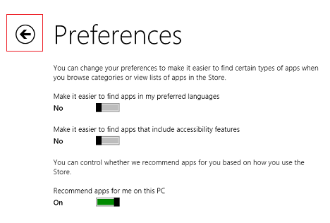 Windows 8.1, apps, Store, preferences, accessibility, languages, recommendations