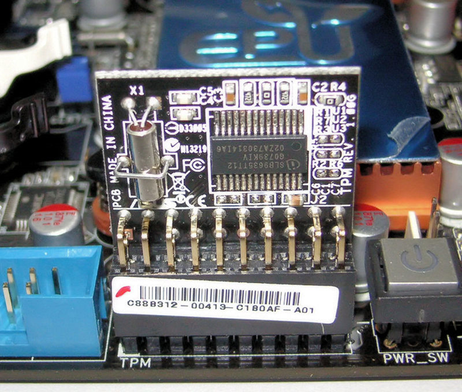 Trusted Platform Module installed on a motherboard