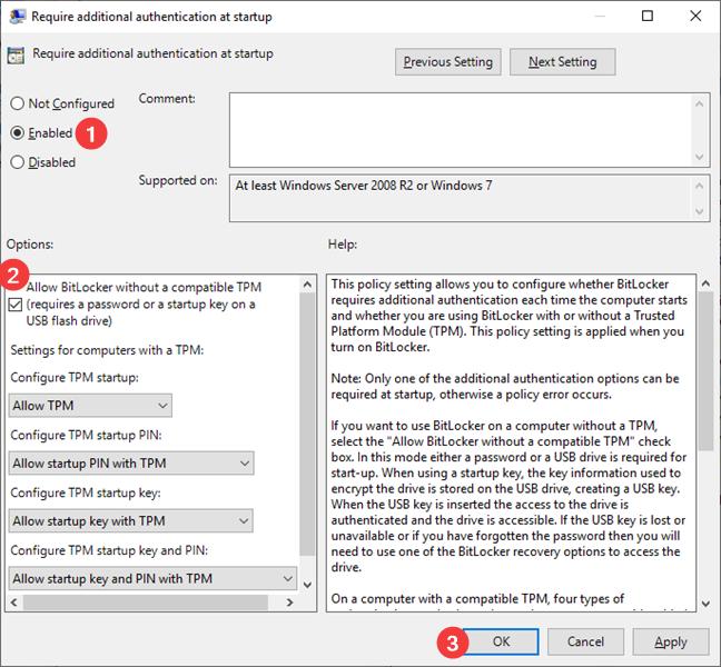 Set Allow BitLocker without a compatible TPM