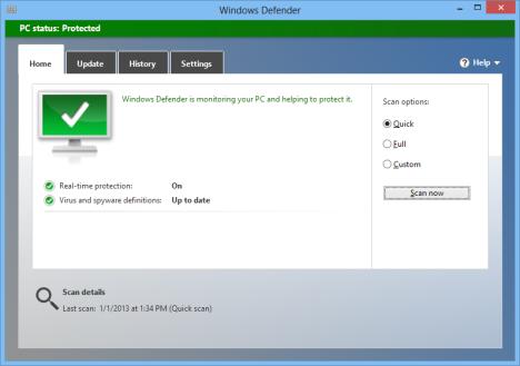 Windows Defender in Windows 8 and Windows 7