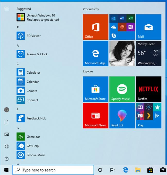 The Start Menu in Windows 10 May 2019 Update