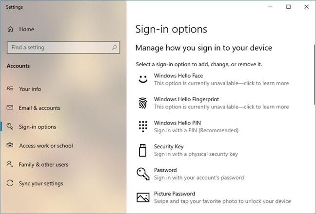 Windows Hello in Windows 10 May 2019 Update
