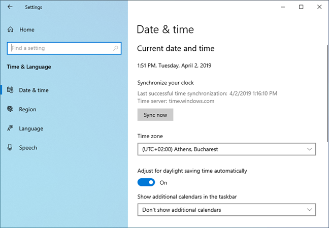 Time sync in Windows 10 May 2019 Update