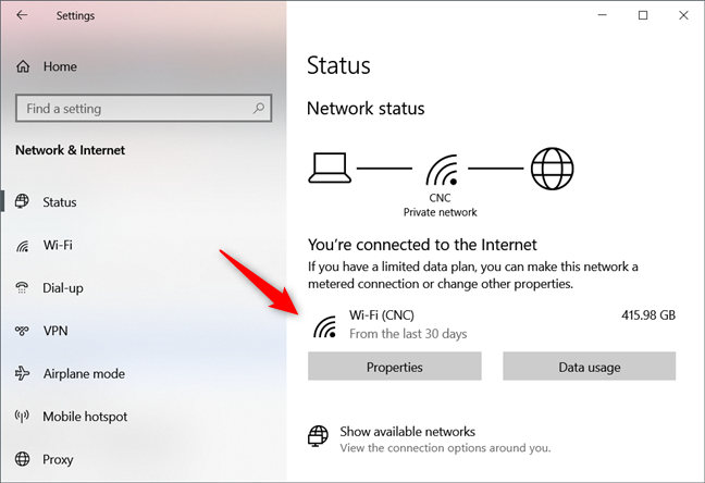Network Status from Settings has a new and better design