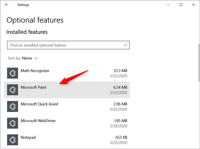 Paint, Notepad, and WordPad can be uninstalled from Windows 10