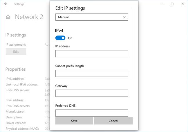 IP settings in Windows 10 May 2019 Update