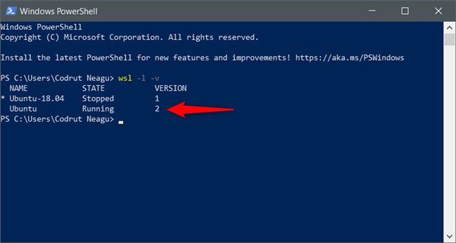 Windows Subsystem for Linux (WSL) version 2