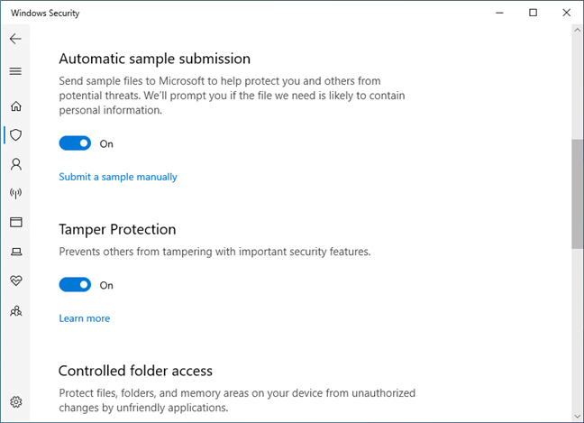 Tamper Protection in Windows 10 May 2019 Update