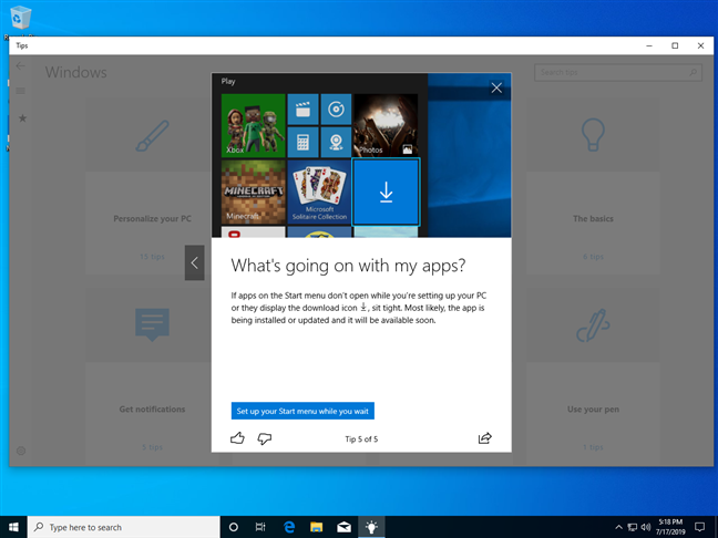 The Windows 10 Tips app shares a possible solution