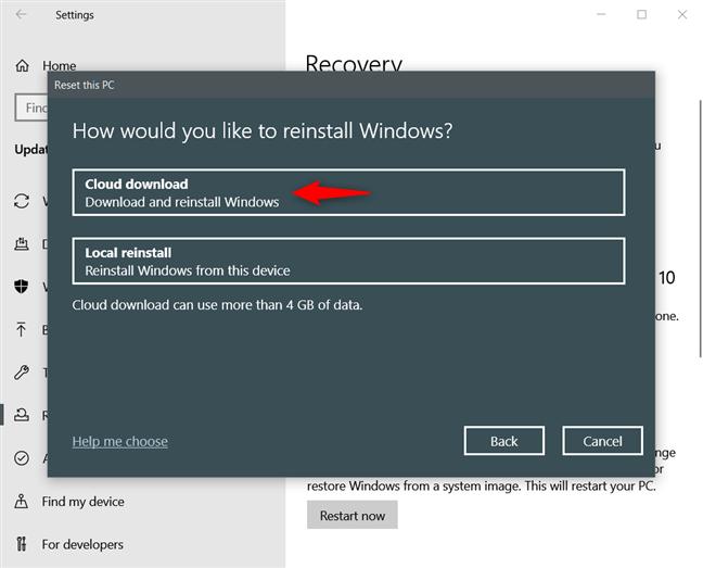 "Windows 10 has a new ""Cloud Download"" reinstall option"