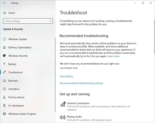 Troubleshooting in Windows 10 with May 2019 Update