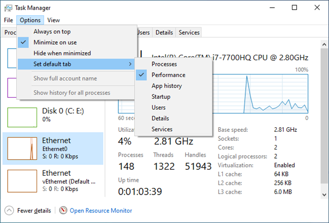 Setting the default tab in Task Manager