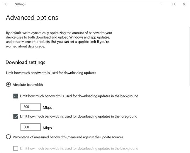 Windows Update has adjustable bandwidth limits