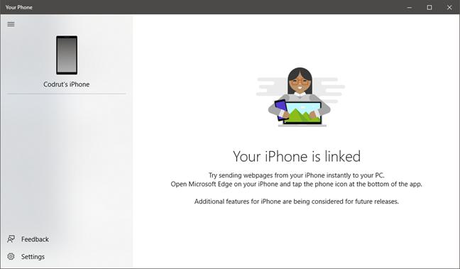 The Your Phone app, in Windows 10 October 2018 Update