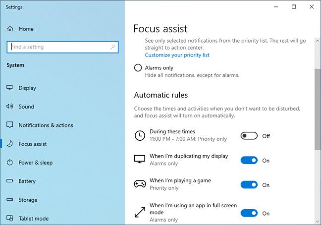 Focus assist in Windows 10 May 2019 Update