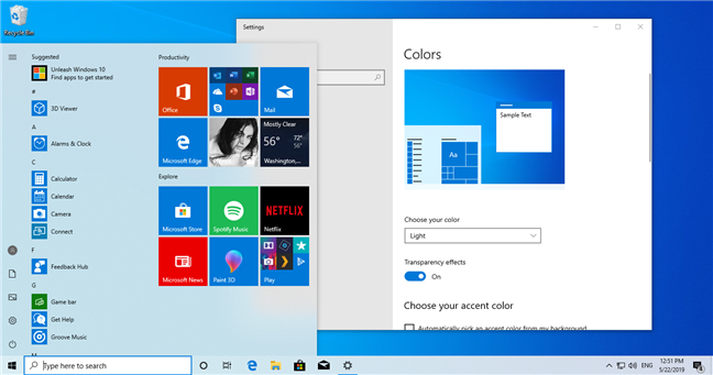 Light theme in Windows 10 May 2019 Update