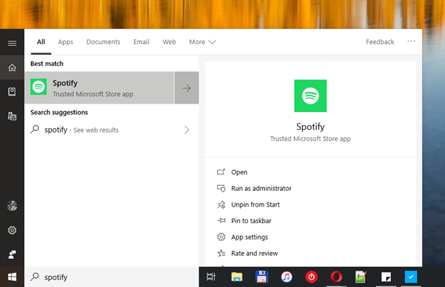 The search panel, in Windows 10 October 2018 Update