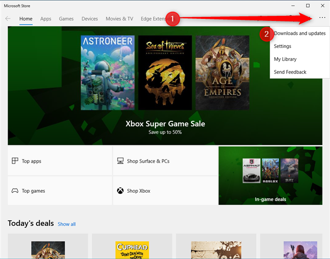 Access Downloads and updates in the Microsoft Store