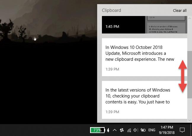 Clipboard history, in Windows 10 October 2018 Update