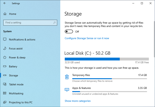 The Storage settings in Windows 10 May 2019 Update