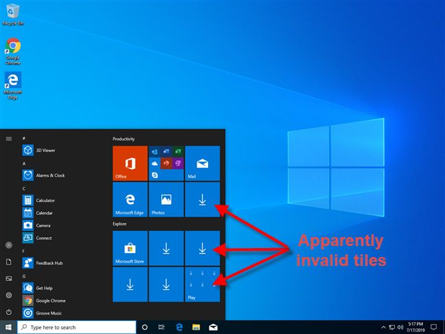 Windows 10 apps not showing on the Start Menu