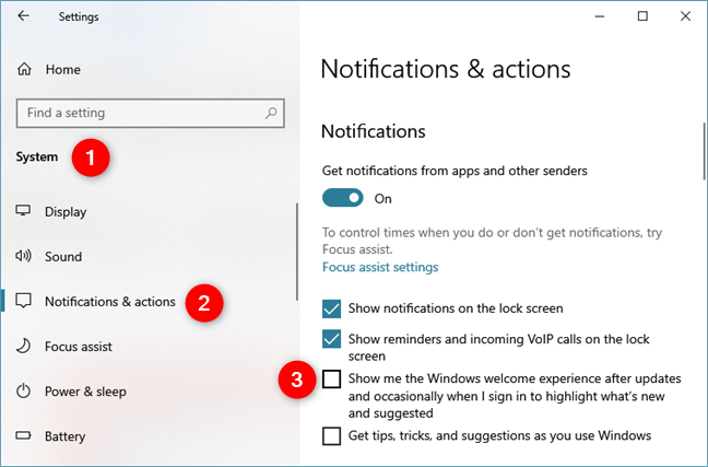 Turn off the ads from the Windows 10 Action Center