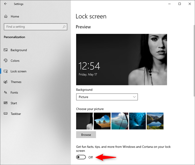 Get fun facts, tips, and more from Windows and Cortana on your lock screen