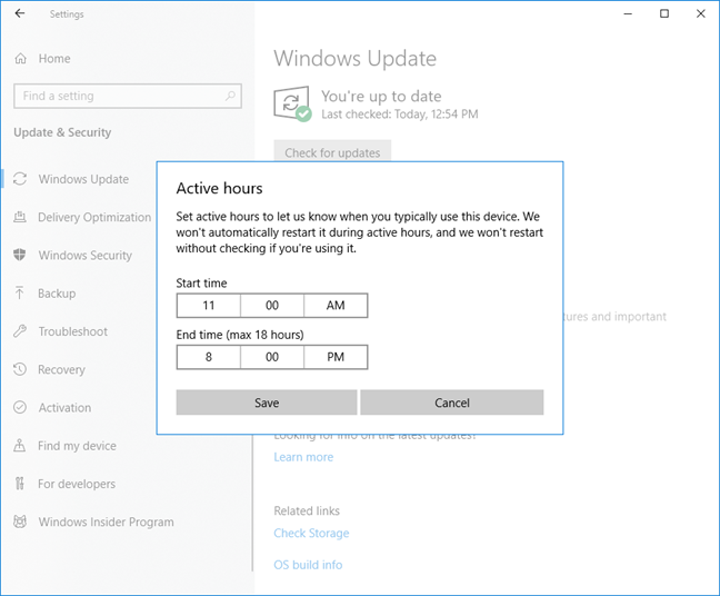 Set the Active hours in Windows 10