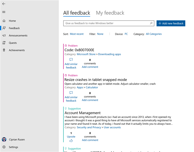 Bugs reported by users in the Feedback Hub