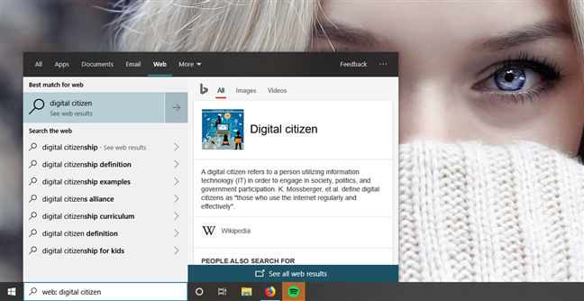 Searching for web results in Windows 10