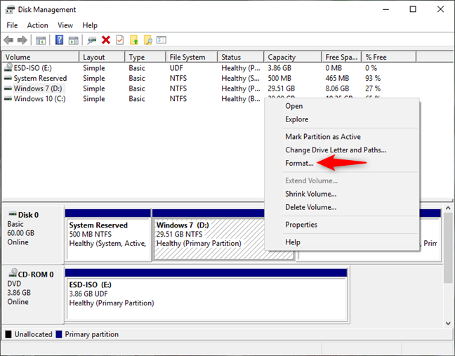Formatting a Windows partition in Disk Management