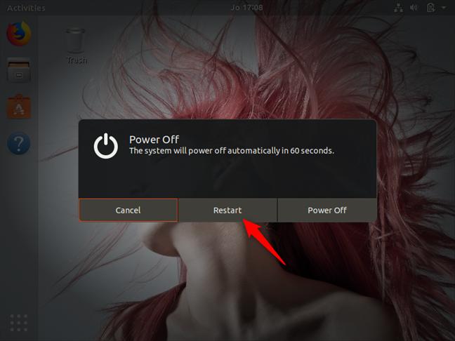 Rebooting the computer in Ubuntu Linux