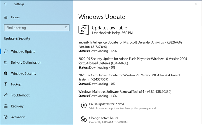 A Cumulative Update is available for Windows 10