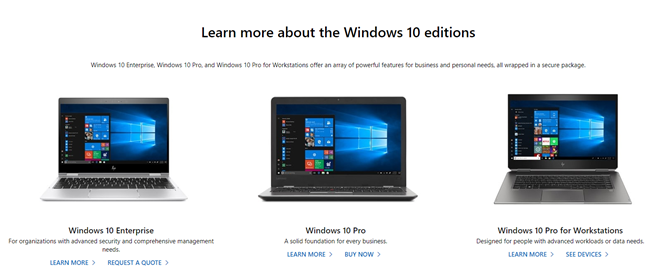 Windows 10 editions for business customers