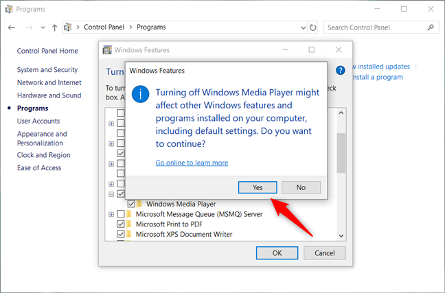 Confirming the uninstallation of Windows Media Player