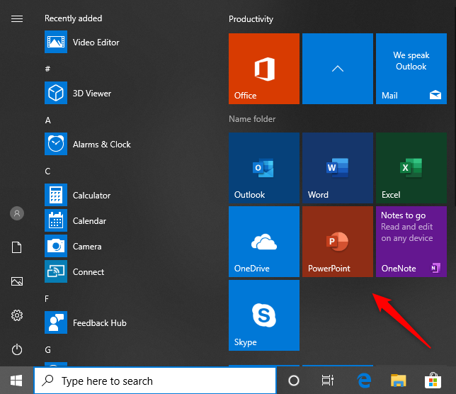 Start Menu links to Office web apps