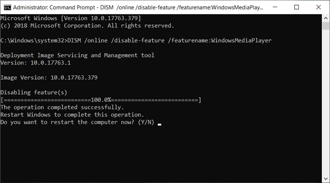 Removing Windows Media Player from Command Prompt