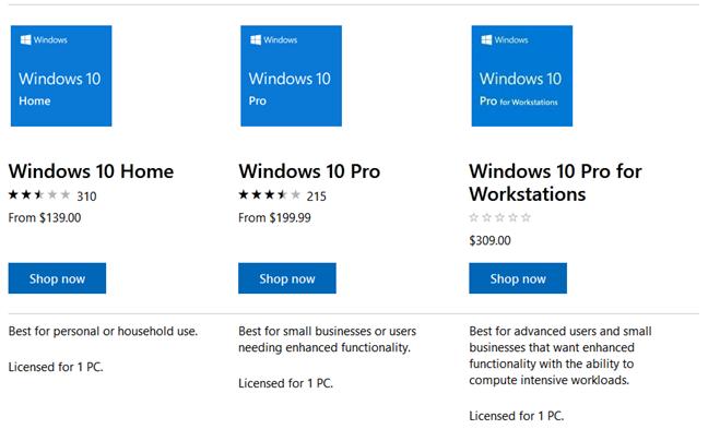 Windows 10 retail licenses prices